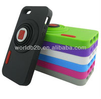 New Fashion Retractile Camera Stand Silicone Phone Case For Apple iPhone 5