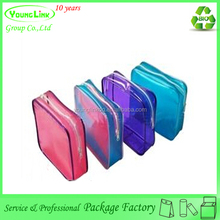 Colorful plastic travel cosmetic package bag with zipper