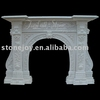 White Marble Fireplace Mantel, Western Fireplace mantel, Round fireplace