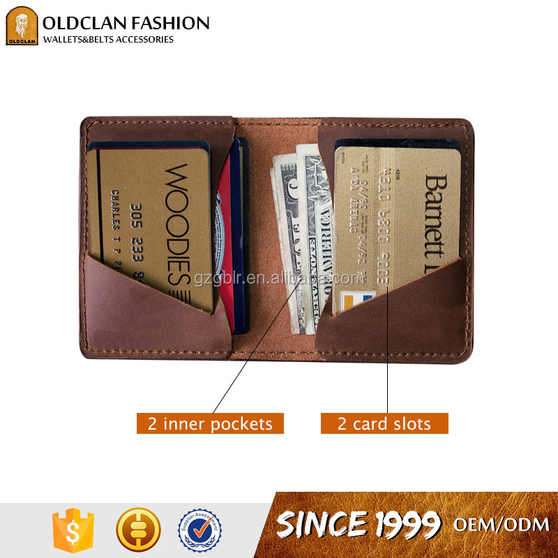 Genuine leather diary card holder front pocket wallet for men