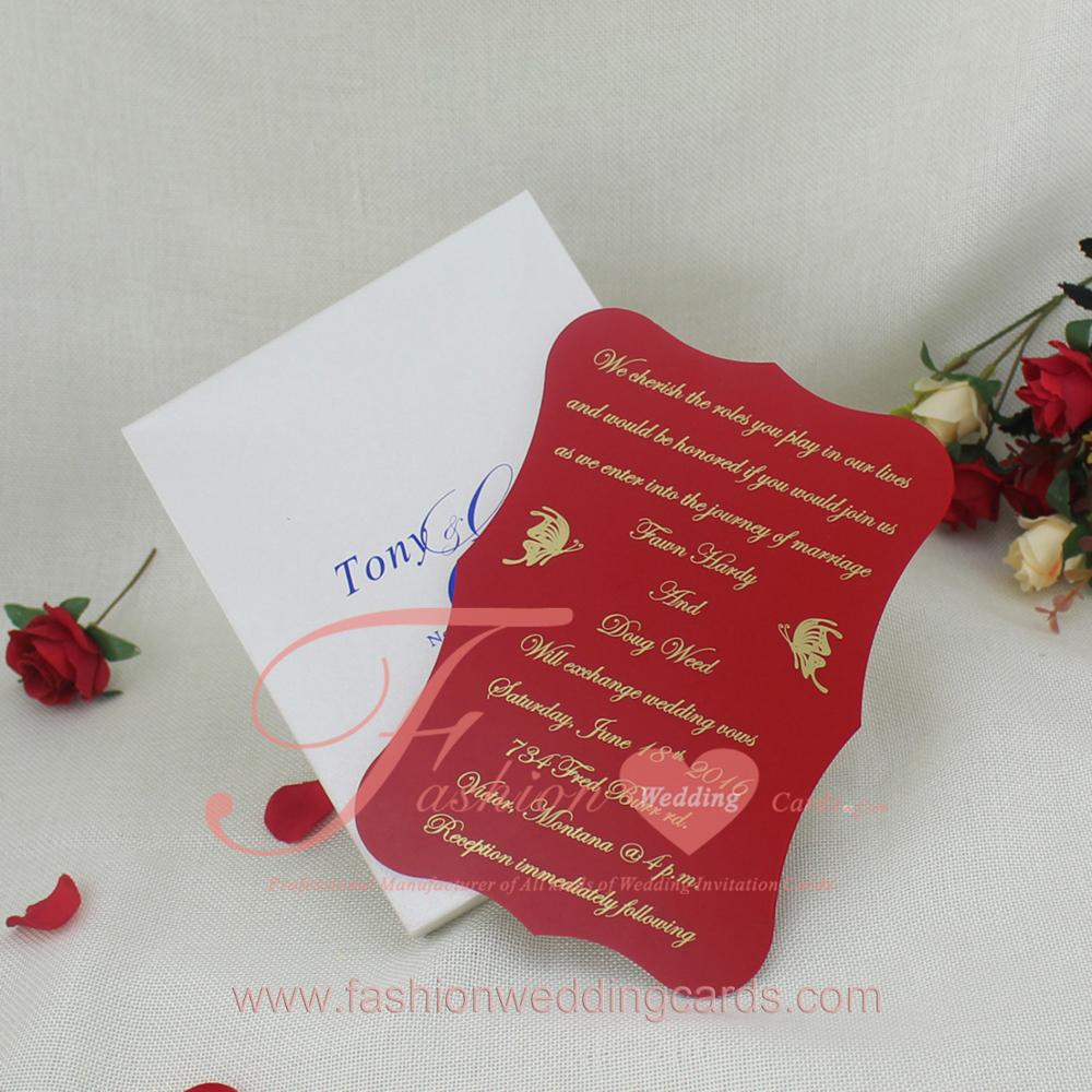 Gold Foiling Handmade Embossing Butterfly Red Wooden Wedding ...