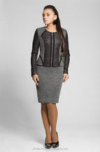 High Quality leather and tweed mature business dress Ladies corporate uniform