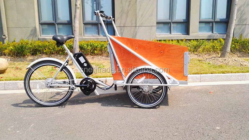 Hot sale bakfiets pedal electric cargo bike /cargo tricycle with middle motor