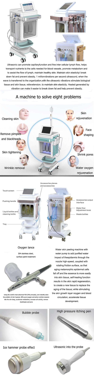 Multi-Funcional 4 em 1 equipamento da beleza da cara água oxigênio jet peel máquina para salão de beleza