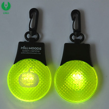 Round Shape Led Logo Printed Reflective Keyring, Promotion Ker Chain, Light Up Key Holder