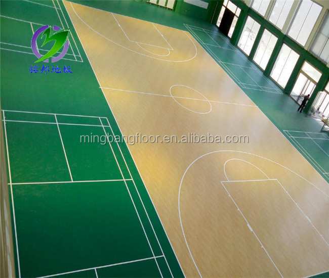 Wood pattern basketball PVC Sports Flooring/basketball pvc floor/basketball floor indoor