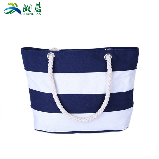 2018 New arrival organic lady canvas beach tote bag with cotton ropes