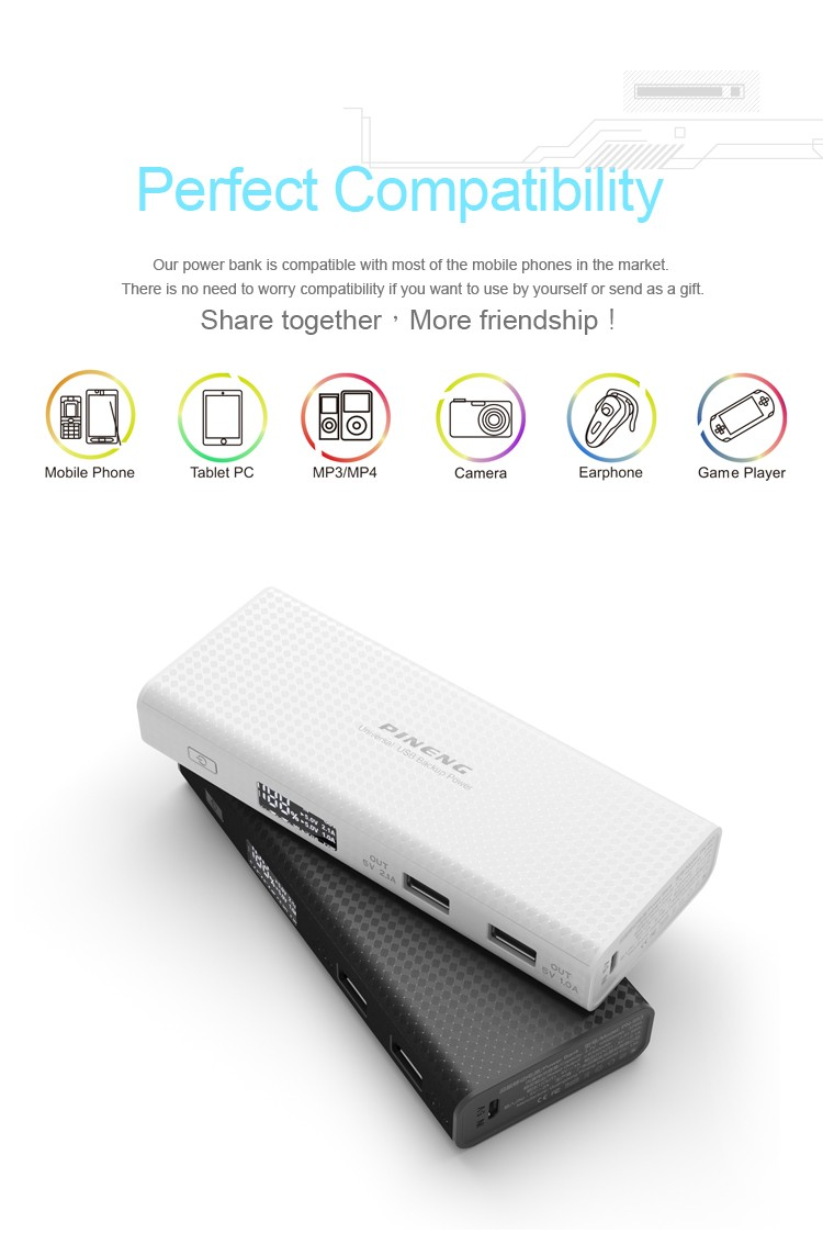PINENG best quality waterproof Dual USB Portable mi PowerBank 10000mAh