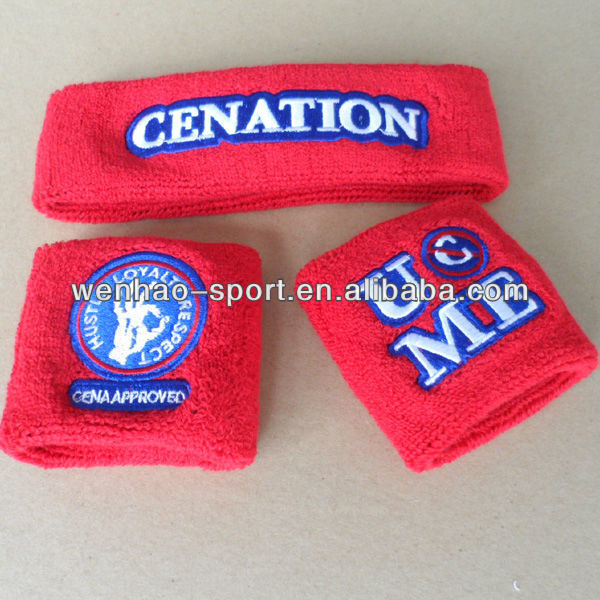 Sweat Absorb sport running gym terry toweling cotton custom embroidery brand sweatband