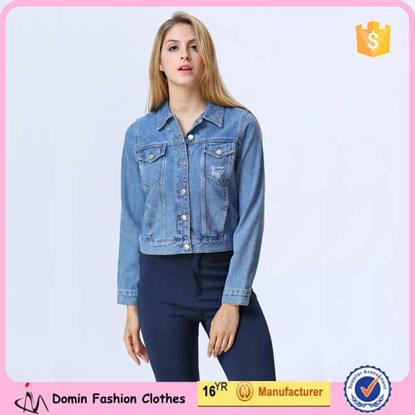 New Fashion Clothing Manufacturer Long Sleeve Blue Denim Jacket For Lady