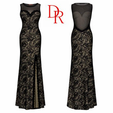 Lady O-neck backless lace side slit evening dress real image black customize your style size sexy indian cheap prom dresses