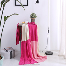 2017 Fashion Sofa Throw Personalized 100% Cotton Stitching Colors Hot Pink Heated Knitted Jacquard Woven Blankets