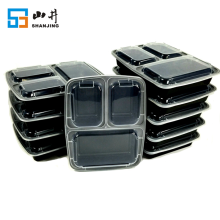 wholesale factory price microwave clear plastic 3 compartment disposable food container with lids