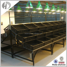 Supermarket vegetable and fruit display shelves with plastic rattan basket