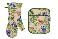 2015 NEW DESIGN PRINTING FLOWERS AND PLANTS(OVEN MITT& POT HOLDER) KITCHEN SET