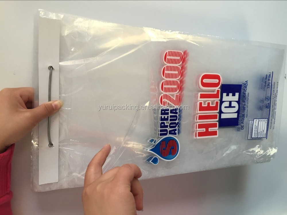 ISO/FDA/ROHS D2W Plastic Wicket Ice Bags with bottom gusset