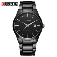 HOT Business Watches Men CURREN Luxury Brand Full Stainless Steel Date Casual clock Men's Quartz Watch black 8106