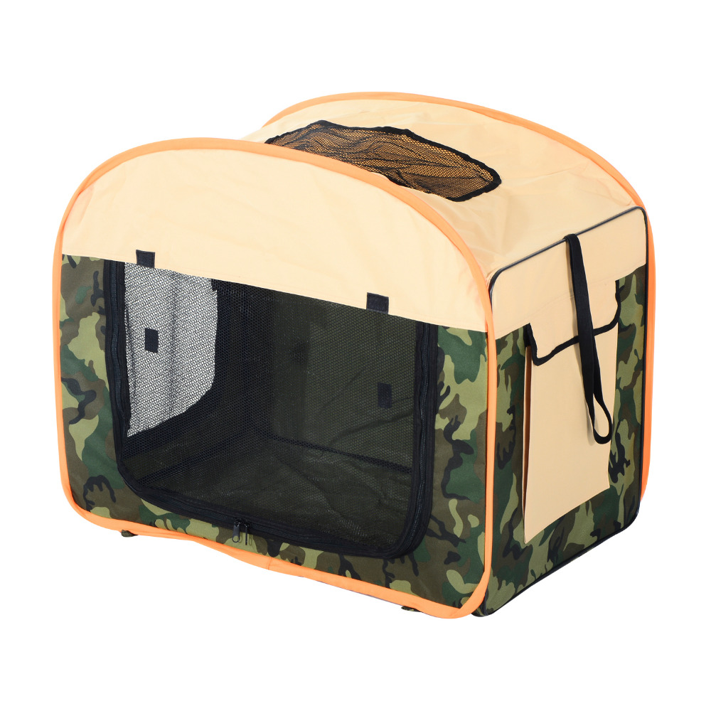 "Pawhut 31"" Soft Sided Folding Pet Crate Carrier - Beige/Camouflage"