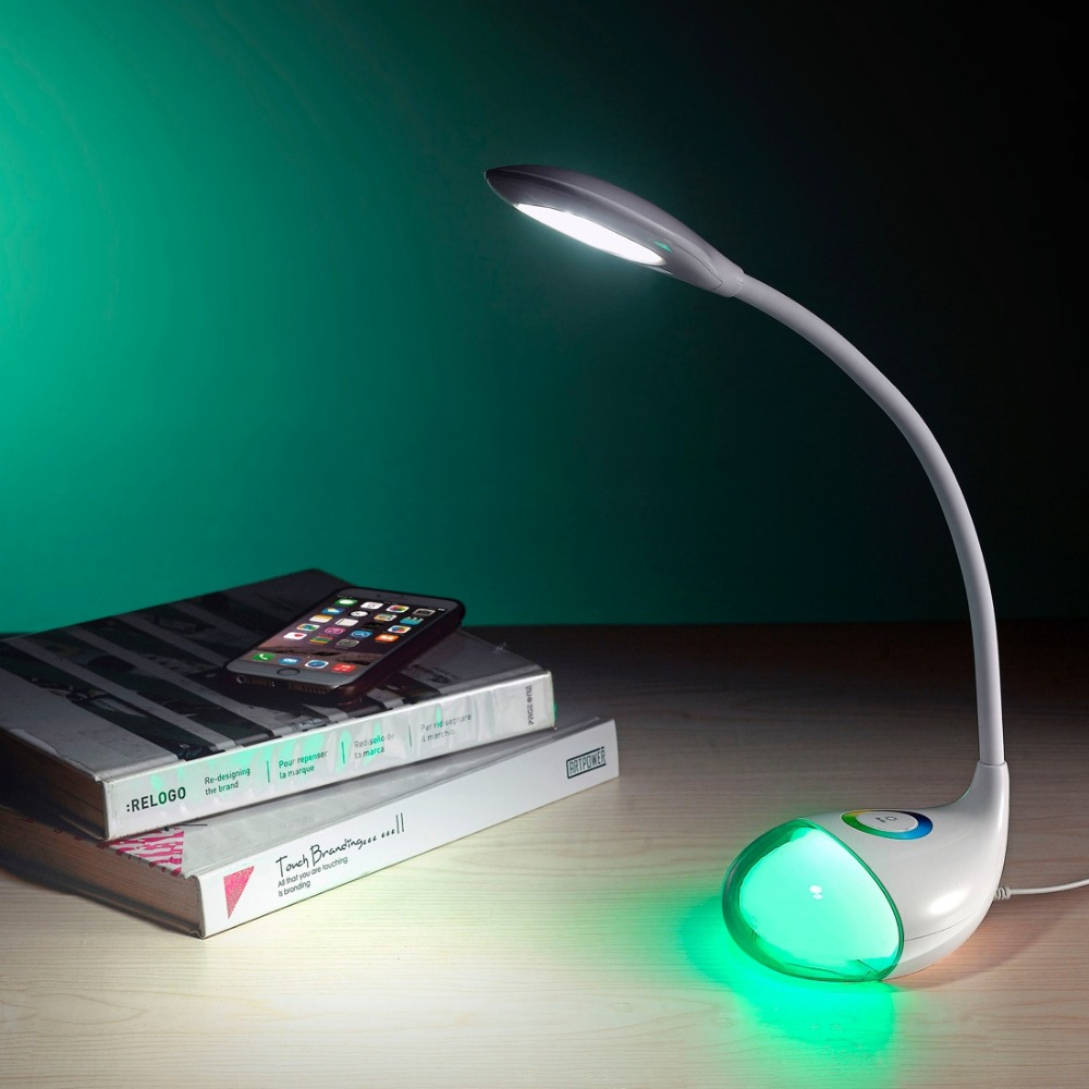 <strong>Q10</strong> AC 100-240V 5W LED 3-grade Dimmable Flexible Desk Lamp with Colorful Touch Light