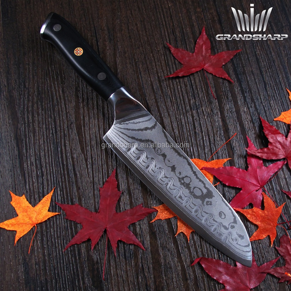 Japanese 7 inch Damascus steel santoku knife kitchen knife with mosaic pin double forged fibre glass handle