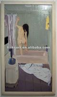 Modern Nude Woman Bathing Handmade Oil Painting on Canvas for Bath Room