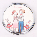 Leather Pocket Makeup Mirror Round Cosmetic Silver Double Side Custom Logo