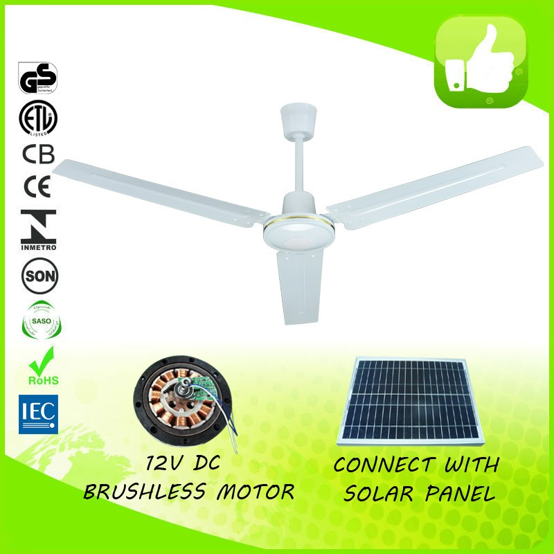 "energy saving 48"" or 56"" solar AC DC ceiling fan 12 volt dc cooling fan"