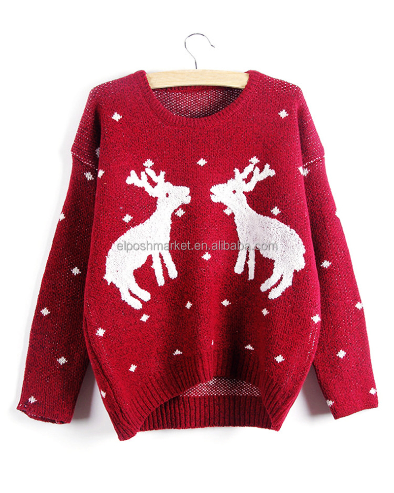 Christmas Cartoon Printed Long Sleeve Pullover Knit Christmas Sweater