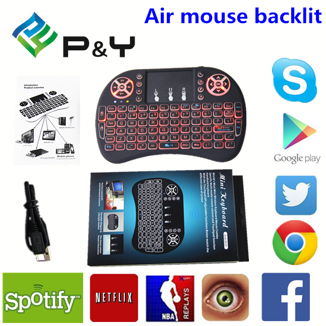 Mini i8 Pro air mouse backlit bluetooth keyboard wireless for smart tv Manufacturer 2.4ghz wireless backlit keyboard