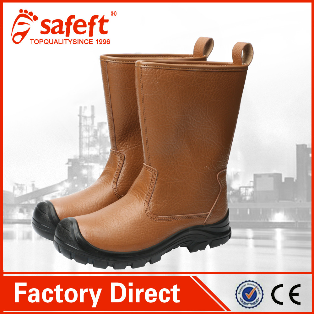 China cheap price no lace steel toe high cut work boots/men