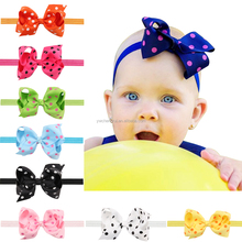 4inch New Fashion summer Handmade DOT ribbon hair Bows with elastic Headbands For Kids Girls