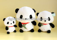 stuffed toys panda family with bamboo leaf in hand