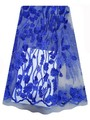 Hot new royal blue french lace fabrics 3D flower tulle lace woman party dress lace