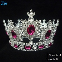 Luxurious Pink Diamond Tiara Princess Crown Crystal Tiara Full Round Pageant Tiara Crown