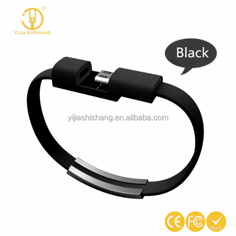 22CM V8 Micro USB Cable Silicone Wrist Bracelet Data Sync Charge Cables Wristband For Samsung Xiaomi HTC Android Smart Phones