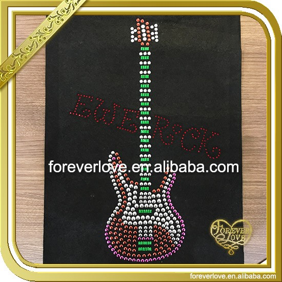 Guitar rhinestone heat transfer motif bling applique for T-shirt FTM-011