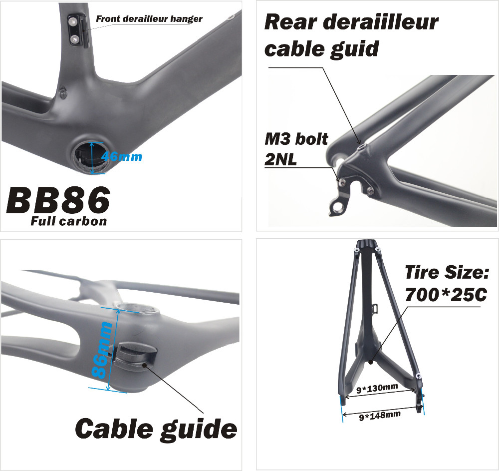 Chinese Bicycle Frame,New design AERO Carbon Road Bike Frame,BB86 Carbon Frame Fork Seatpost
