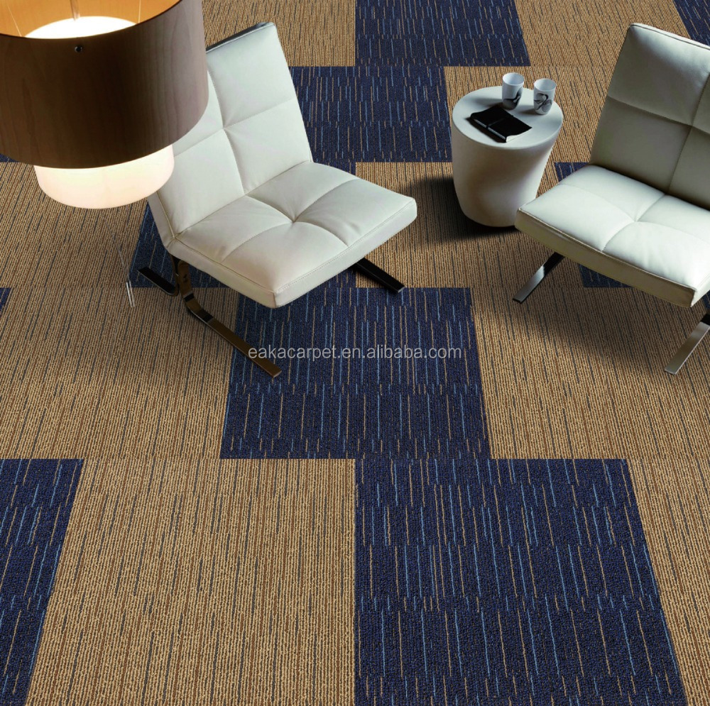 Luxury high quality stain resistance fireproof PVC backing carpet tiles for office