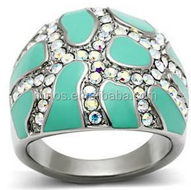 Artistic Strength Of Craftsmanship Stainless Steel Aurora Borealis Crystals Turquoise Epoxy Inlays Comfort-fit Ring
