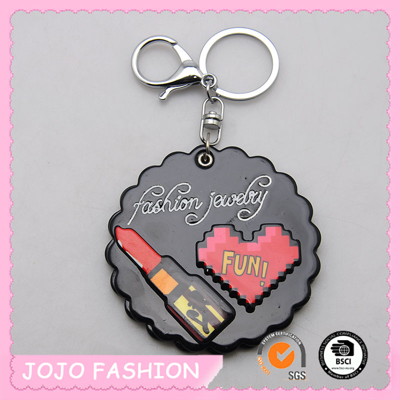 Fashion hot selling high-end black acrylic mirror red lip stick heart engraved keychain