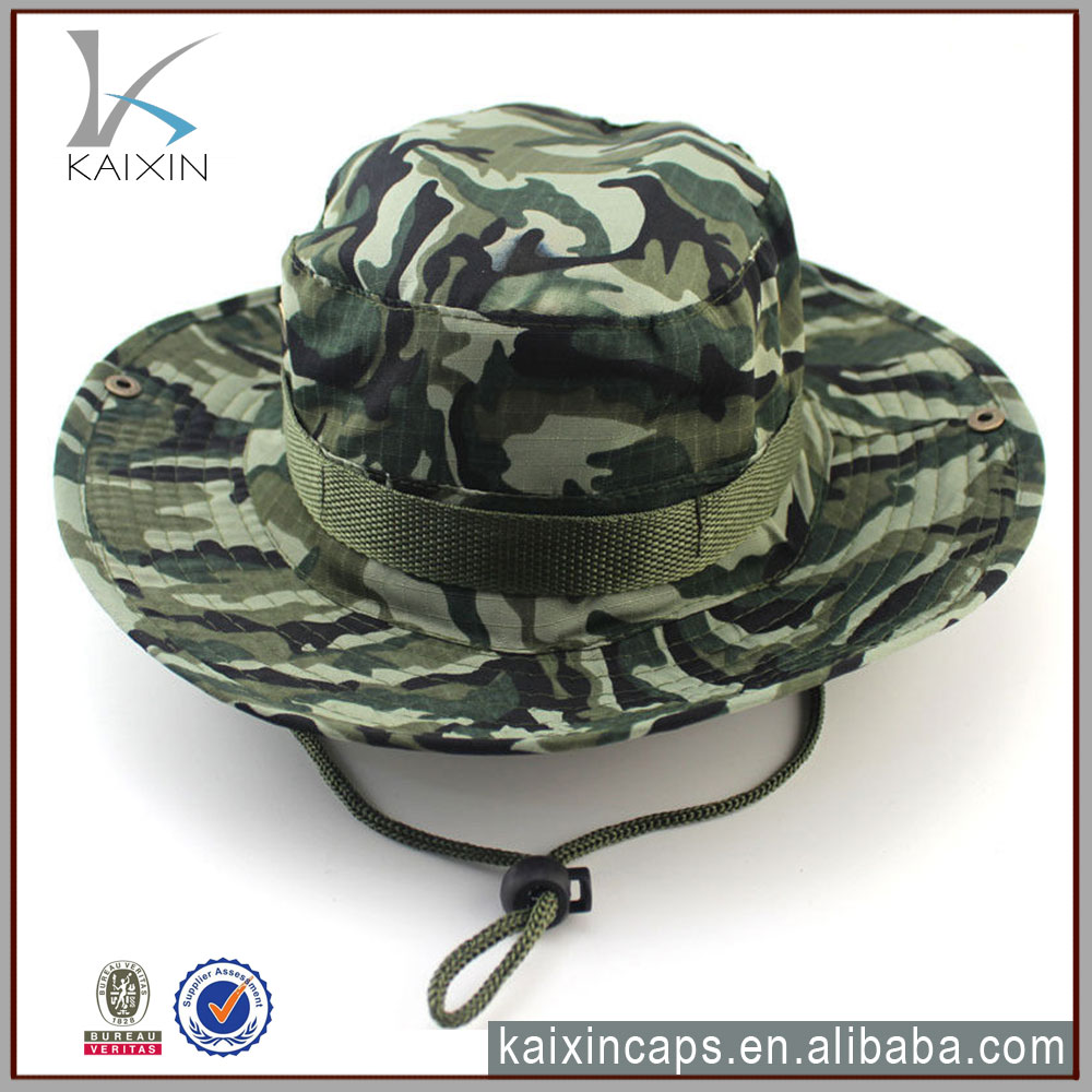 high quality military boonie hat custom fashion camo bucket hat with string
