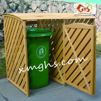 Wood Dustbin Box