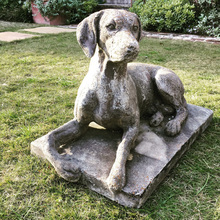 Hot selling small garden decor realistic stone dog sculpture