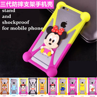 Rubbler Silicone Mobile Phone Case Frame Bumpers Stand Cover for iPhone and Samsung below 6 inches Cell Phone