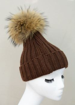 Popular Fashion Winter Warm Hats With Fur Ball Real Fluffy Raccoon Fur Pompom Hats