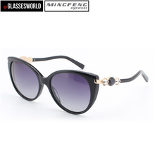 Wholesale acetate material cat eye stone women sunglasses with custom your own logo polarized sun glasses