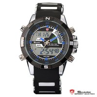 Shark Digital Day Date Blue Hands LED Mens Sports Analog Wrist Watch