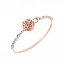High-end Solid Four Leaf Clover Rose Gold Plated Alloy Bracelet Bangle