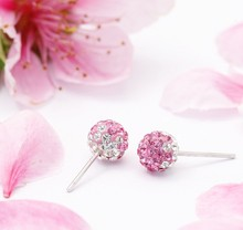 925 sterling silver baby pink crystal earring, rose color crystal gift stud earring