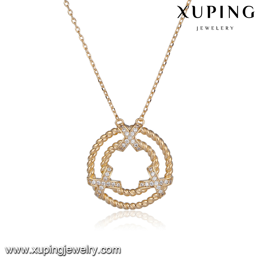 43993 fashion jewelry for women luxury delicat copper alloy diamond jewelry necklace